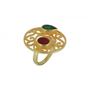 Silver Alloy Gold Plated Red Hydro & Green Hydro Glass Ring
