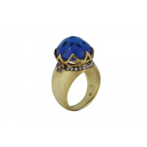 Silver Alloy Gold Plated wtih Black Rhodium Blue Hydro Glass & Zircon Ring