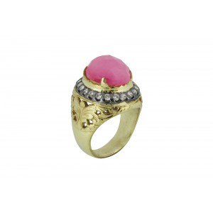 Silver Alloy Gold Plated with Black Rhodium Pink Hydro & Zircon Ring