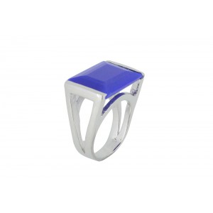 Silver Alloy Blue Hydro Ring