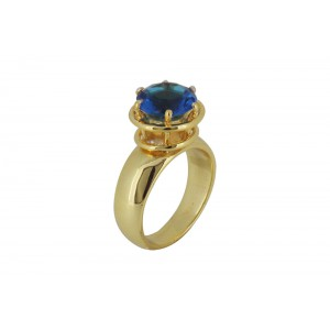 Silver Alloy Gold Plated Round Blue Hydro Glass Ring