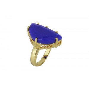 Silver Alloy Gold Plated Half Moon Blue Hydro Ring