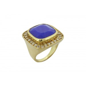 Silver Alloy Gold Plated Cushion Blue Hydro & Zircon Ring