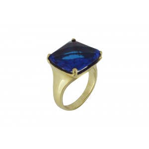 Silver Alloy Gold Plated Blue Hydro Glass Ring