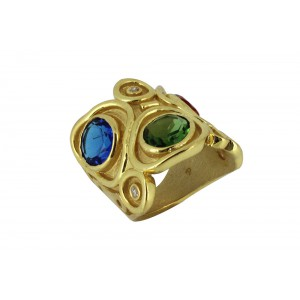 Silver Alloy Gold Plated Multi Hydro Glass Designer Ring