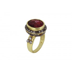 Silver Alloy Gold Plated with Black Rhodium Garnet Hydro Glass & Zircon Ring