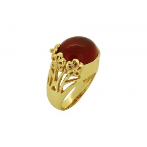 Silver Alloy Gold Plated Red Hydro Glass Floral Ring