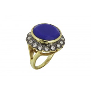 Silver Alloy Gold Plated Blue Hydro & Zircon Ring