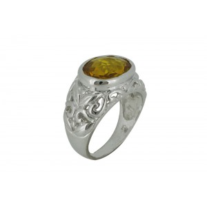 Silver Alloy Citrine Hydro Glass Ring