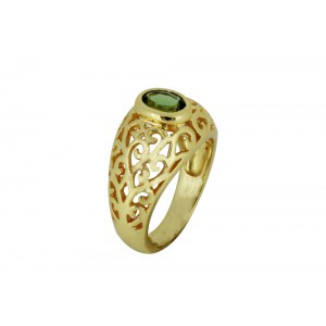 Silver Alloy Gold Plated Green Hydro Filigree Ring