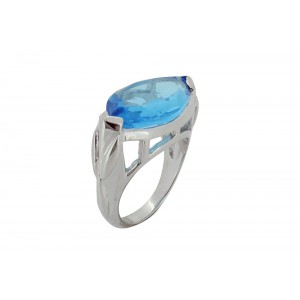 Silver Alloy Sky Blue Hydro Ring