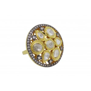Silver Gold Plated with Black Rhodium Crystal Polki & Zircon Ring