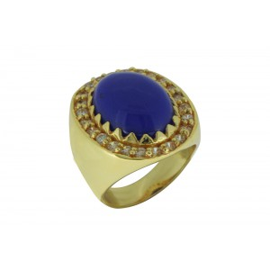 Silver Alloy Gold Plated Navy Blue Hydro & Zircon Ring