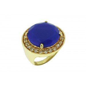 Silver Alloy Gold Plated Navy Blue & Zircon Ring