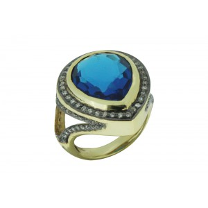 Silver Alloy Gold Plated with Black Rhodium Blue Hydro & Zircon Ring
