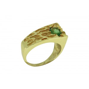 Silver Alloy Gold Plated Oval Green Hydro Ring