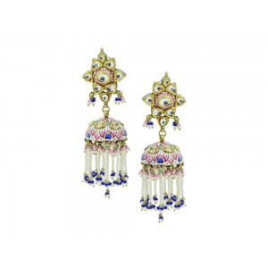 Silver Gold Plated with Meena work Crystal Polki, Pearl, Pink & Blue Bead Jhumki