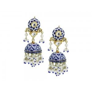 Silver Gold Plated with Blue Meena work Crystal Polki, Pearl & Blue Bead Jhumki