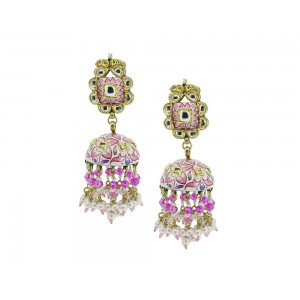 Silver Gold Plated with Meena work Crystal Polki, Pearl & Pink Bead Jhumki