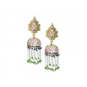 Silver Gold Plated with Meena work Crystal Polki, Pearl & Bead Jhumki