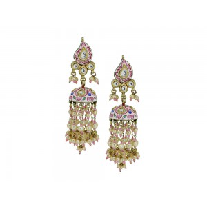 Silver Gold Plated with Pink Meena work Crystal Polki, Pearl & Pink Bead Jhumki