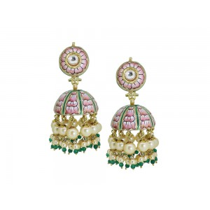 Silver Gold Plated with Meena work Crystal Polki, Pearl & Green Bead Jhumki