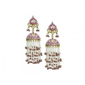 Silver Gold Plated with Meena work Crystal Polki, Pearl & Garnet Bead Jhumki