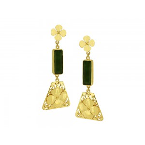 Silver Alloy Gold Plated Green Hydro Floral Earring