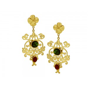 Silver Alloy Gold Plated Green & Red Hydro Floral Earring