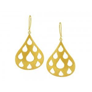 Silver Alloy Gold Plated Mesh Dot Pear Earring