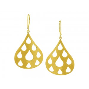 Silver Alloy Gold Plated Mesh Pear Hook Earring
