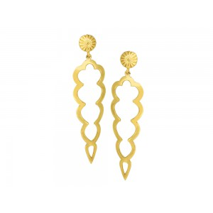Silver Alloy Gold Plated Long Dangler Earring