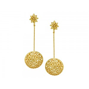 Silver Alloy Gold Plated Long Chain Floral Earring