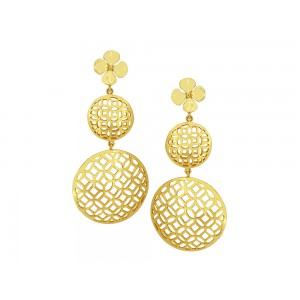 Silver Alloy Gold Plated Floral Long Dangler Earring