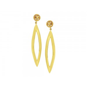 Silver Alloy Gold Plated Plain Floral Earring
