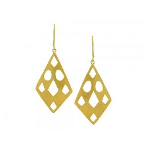 Silver Alloy Gold Plated Mesh Metal Finish Hook Earring