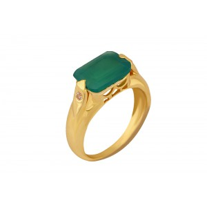 Silver Alloy Gold Plated Green Hydro Glass & Zircon Ring