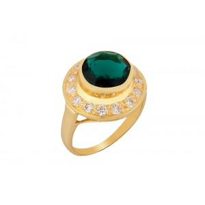 Silver Alloy Gold  Plated Green Hydro Glass with Zircon Ring