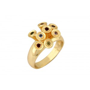 Silver Alloy Gold Plated Multi Color Stone Ring