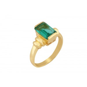 Silver Alloy Gold Plated Green Hydro Glass Ring
