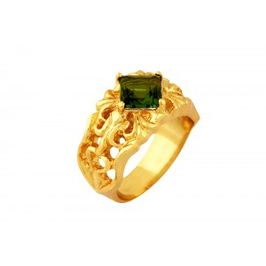 Silver Alloy Gold Plated Green Hydro Glass Filigree Ring