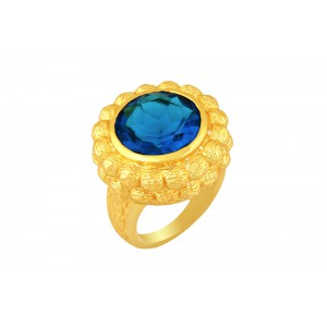 Silver Alloy Gold Plated Blue Hydro Glass Filigree Mesh Finish Ring