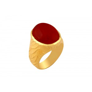 Silver Alloy Gold Plated Red Hydro Glass Ring