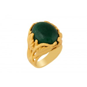 Silver Alloy Gold Plated Green Hydro Glass Leaf Ring
