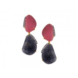 Silver Gold Plated with Black Rhodium Red & Blue Talpe wtih Zircon Earring