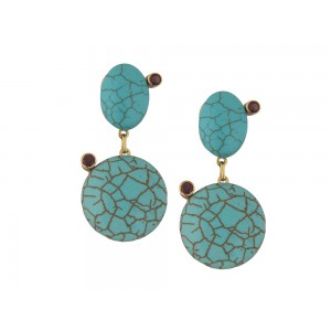 Silver Gold Plated Turquoise & Garnet Earring