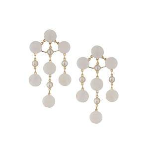Silver Gold Plated Pearl Round Long Dangler Earring