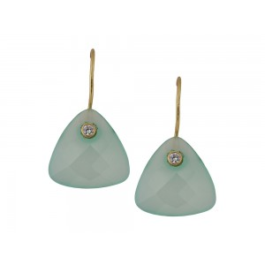 Silver Gold Plated Aqua Blue & Zircon Earring