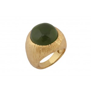 Silver Alloy Gold Plated Round Green Light Hydro Ring