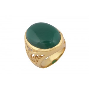 Silver Alloy Gold Plated Green Hydro with Zircon Filigree Ring